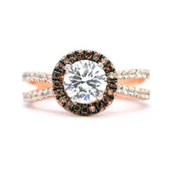Floating Halo Engagement Ring, Rose Gold, 1 Carat Forever Brilliant Moissanite Center Stone, White & Fancy Brown Diamond Accent Stones,Anniversary - FB94656