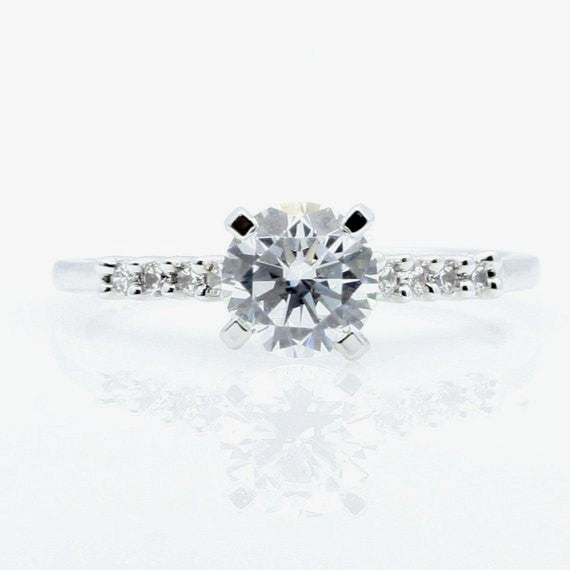 Moissanite Engagement Ring Wedding Set, Solitaire With 1 Carat Forever Brilliant Moissanite & .40 Carat Diamonds - FB76298