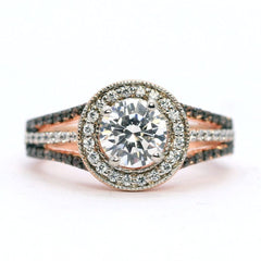 1 Carat Forever Brilliant Moissanite Engagement Ring, Floating Halo Rose Gold, White & Chocolate Color Brown Diamonds, Anniversary Ring - FB94627