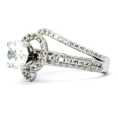 Unique Floating Halo Diamond Engagement Ring Setting, Semi Mount, for 1 Carat Center Stone, Unique Double Shanks - 85038