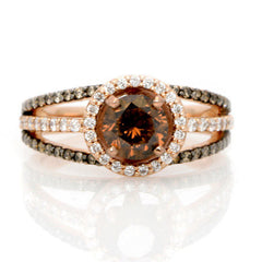 1 Carat Chocolate Brown Diamond Floating Halo Engagement Ring , Rose Gold, Unique White & Brown Diamonds Accent Stones, Anniversary Ring - BD94646
