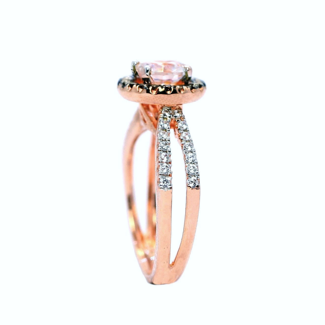 Floating Halo Engagement Ring, Rose Gold, 6.5 mm Morganite Center Stone, White & Chocolate Brown Diamond Accent Stones,Anniversary - MG94656