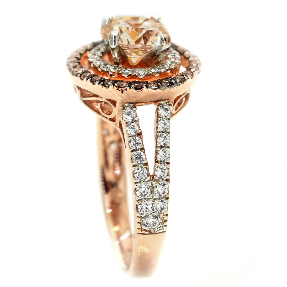 Double Halo Rose Gold, 6.5 mm Morganite Engagement Ring With .62 Carat Of White & Chocolate Brown Diamonds, Split Shank - MG94640