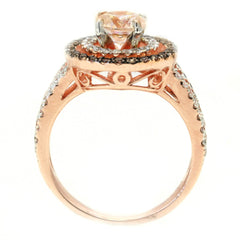 Double Halo Rose Gold, 6.5 mm Morganite Engagement Ring With .62 Carat Of White & Brown Diamonds, Split Shank - MG94640