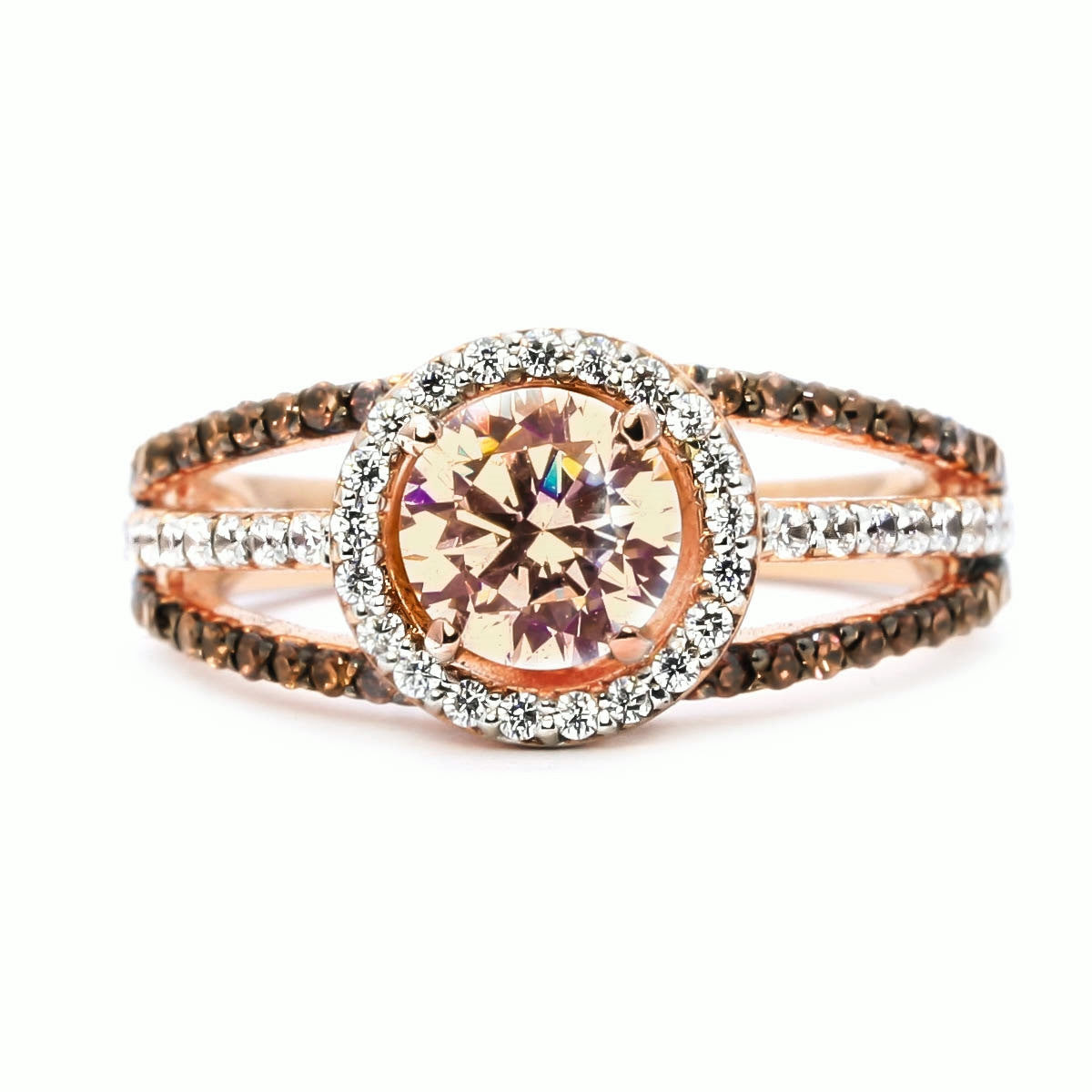 Floating Halo Rose Gold, White & Brown Diamonds,6.5 mm Morganite, Engagement Ring, Anniversary Ring - MG94646