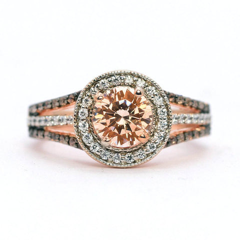 1 Carat Morganite Engagement Ring, Floating Halo Rose Gold, White & Brown Diamonds, Anniversary Ring - MG94627