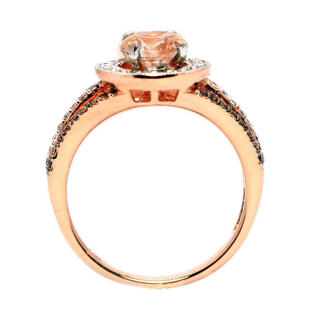 1 Carat Morganite Engagement Ring, Floating Halo Rose Gold, White & Chocolate Color Brown Diamonds, Anniversary Ring - MG94627
