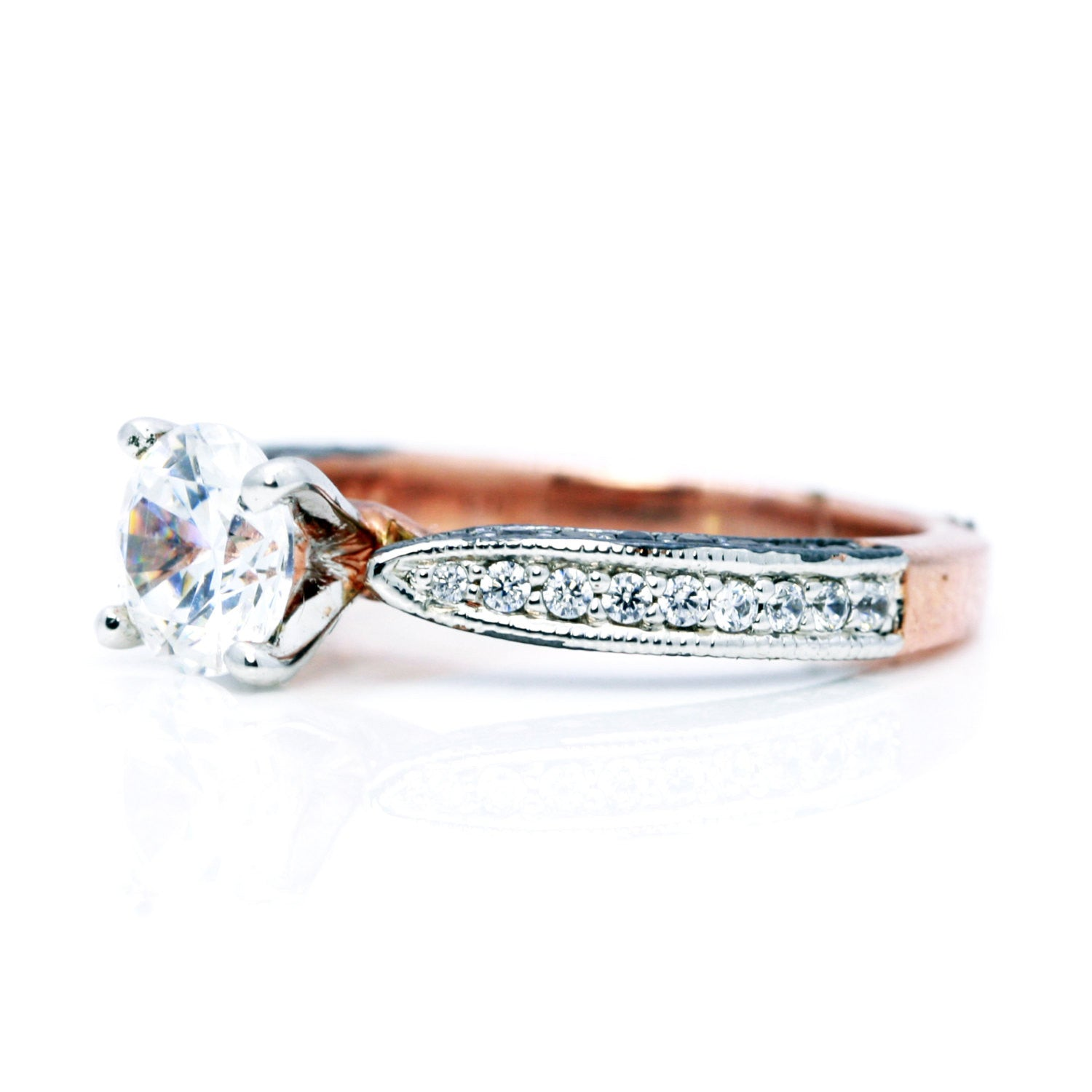 Rose Gold, White & Brown Diamonds, 1 Forever Brilliant Moissanite, Engagement Solitaire Anniversaryl Ring - FB94614