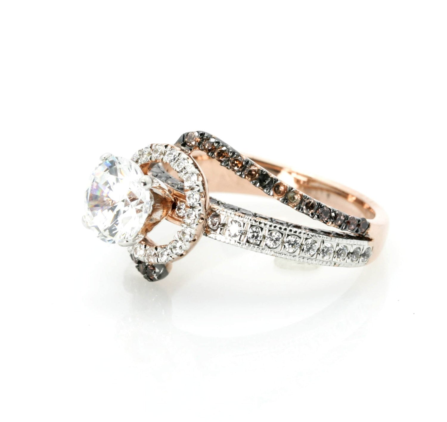 Unique Halo Rose Gold Diamond, 1 Carat Forever Brilliant Moissanite, Chocolate Brown Diamonds Engagement Ring, Anniversary Ring - FB94649