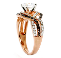"Unique Halo Infinity 1 Carat ""Forever Brilliant"" Moissanite Engagement Ring with Rose Gold, White & Fancy Brown Diamond Accent Stones, Anniversary - FB94645"