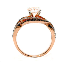 Unique Halo Infinity 1 Carat Morganite Engagement Ring with Rose Gold, White & Brown Diamond Accent Stones, Anniversary - MG94645