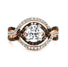 Unique Halo Infinity Rose Gold, White & Brown Diamonds Engagement Ring, Anniversary Ring With 1 Carat Forever Brilliant Moissanite - FB94616