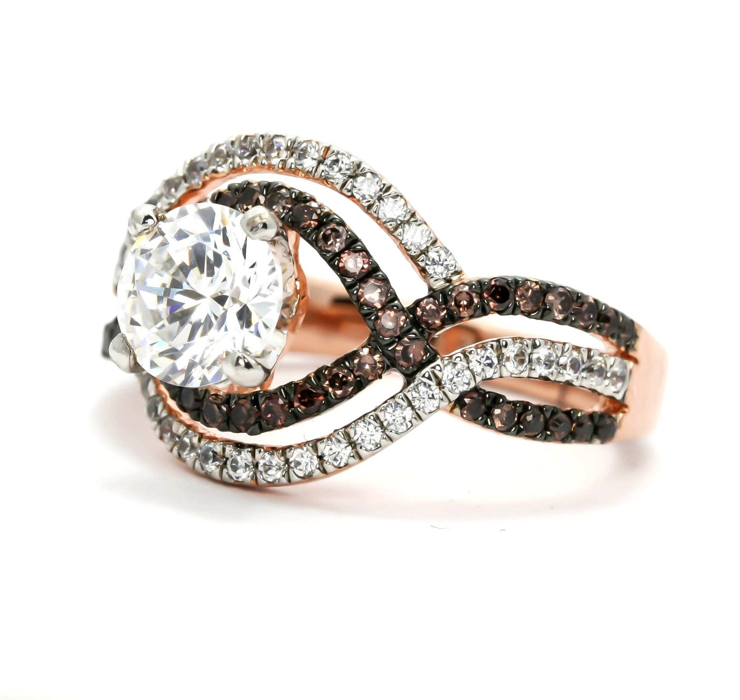 Unique Halo Infinity Rose Gold, White & Chocolate Brown Diamonds Engagement  Ring, Anniversary Ring