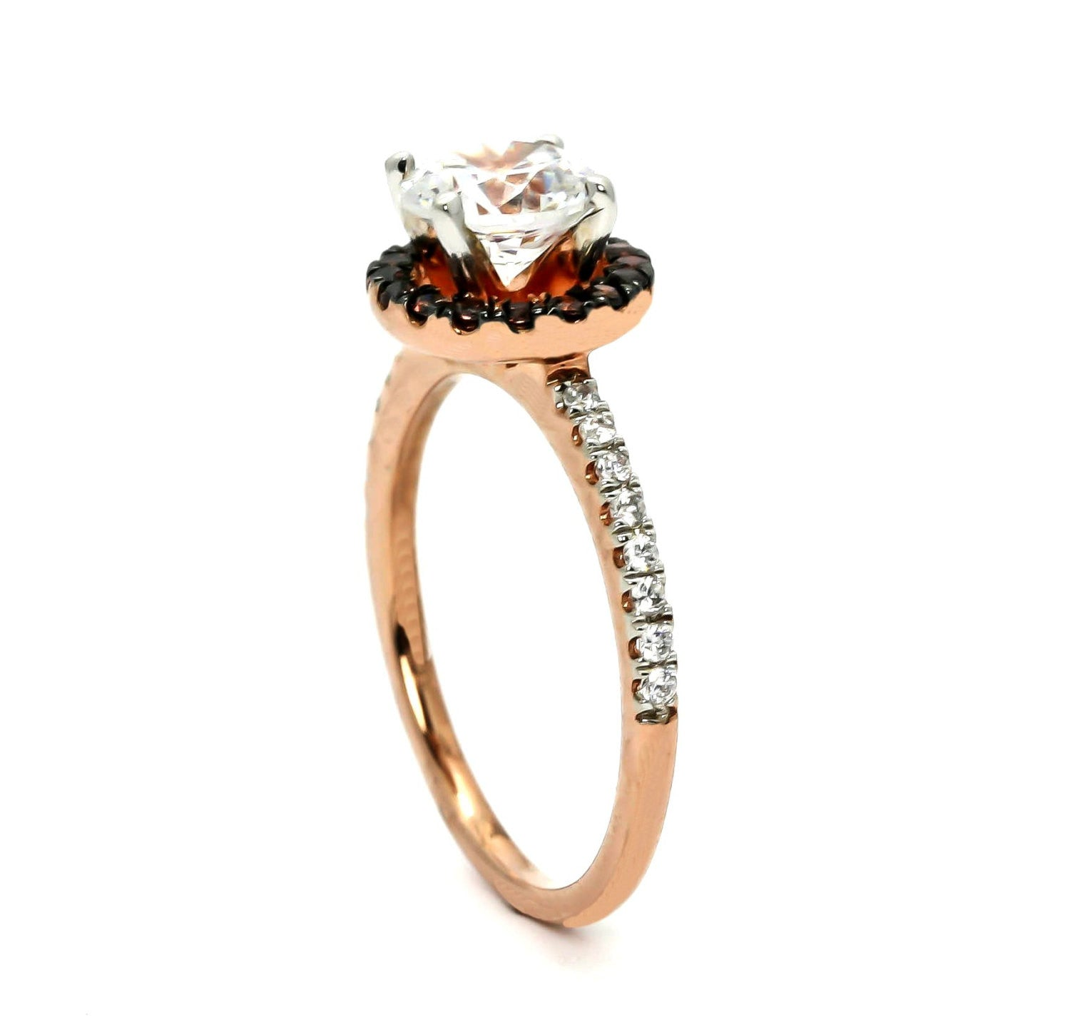 1 Carat Forever Brilliant Moissanite, Fancy Brown Diamond Halo, White Diamond Accent Stones, Rose Gold, Engagement Ring - FB94639