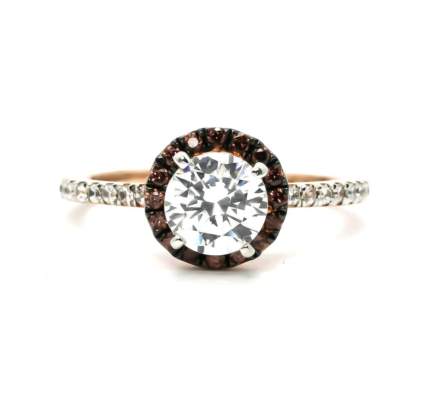 Fancy Brown Diamond Halo, White Diamond Accent Stones, Rose Gold, Semi Mount For 1 Carat Stone Engagement Ring, Anniversary Ring - 94639