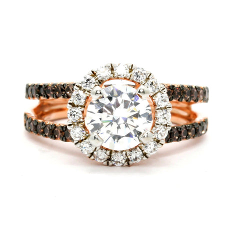 Floating Halo Rose Gold, 1.25 Carat Forever Brilliant Moissanite Engagement Ring With 1.02 Carats Of White & Brown Diamonds, Anniversary Ring - FB94654