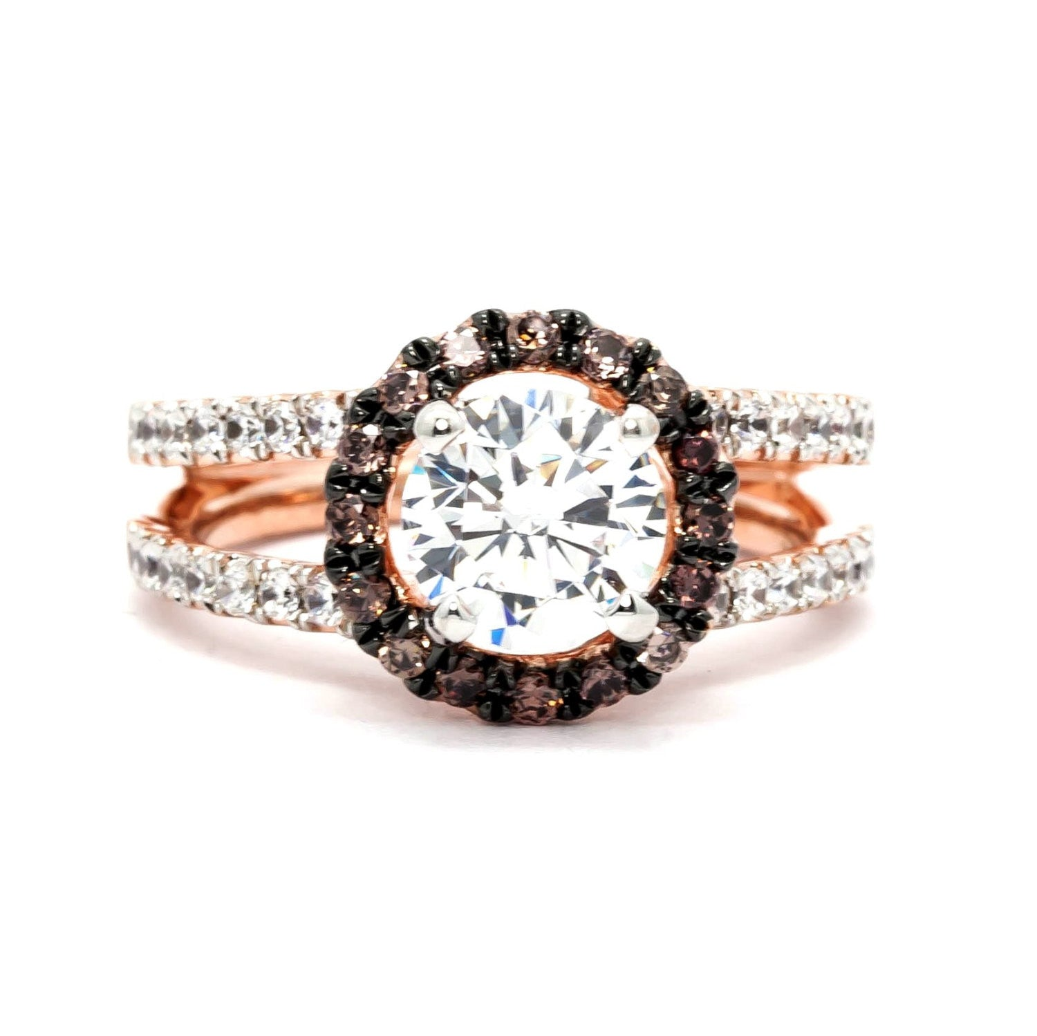 Floating Halo Rose Gold Split Shank 1.25 Carat Forever Brilliant Moissanite Engagement Ring, With 1.03 Carat White & Chocolate Brown Diamonds, Anniversary Ring - FB94625
