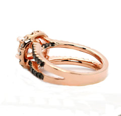 Floating Halo Rose Gold, 1.25 Carat Forever Brilliant Moissanite Engagement Ring With 1.02 Carats Of White & Chocolate Brown Diamonds, Anniversary Ring - FB94654