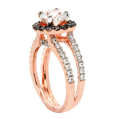 Floating Halo Rose Gold Split Shank 1.25 Carat Forever Brilliant Moissanite Engagement Ring, With 1.03 Carat White & Brown Diamonds, Anniversary Ring - FB94625