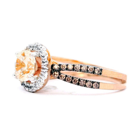 Floating Halo Engagement Ring, Rose Gold, 1 Carat Morganite Center Stone, White & Fancy Brown Diamond Accent Stones,Anniversary - MG94626