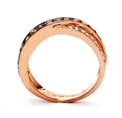 Champagne Diamond & White Diamond 14K Rose Gold Ring, Chocolate Brown Diamonds, Cocktail Ring, Double Overlapping Wedding Band - 96831