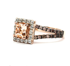 Unique 1.25 Carat Princess or Cushion Cut Morganite, White & Fancy Brown Diamond,14k Rose Gold,Split Shank,Floating Halo Engagement Ring - MG94623