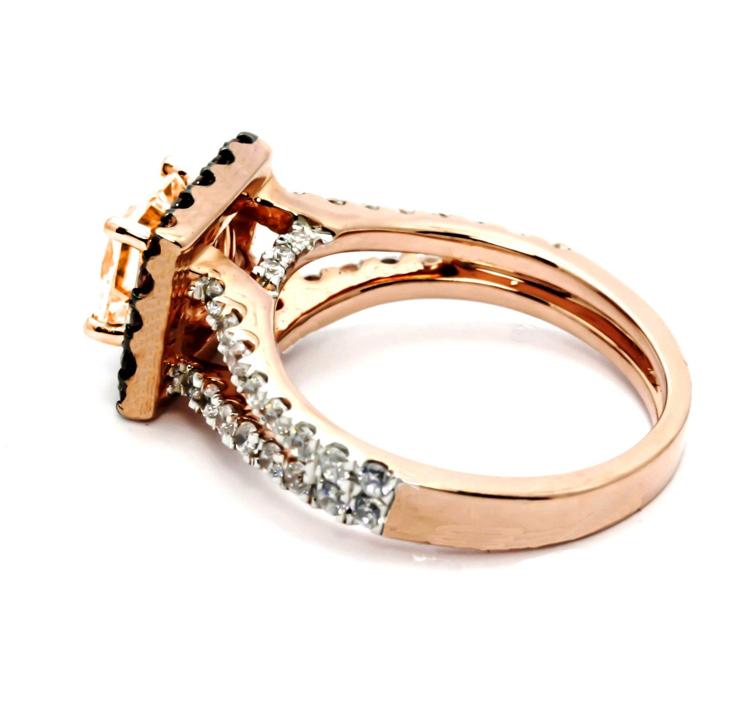 Unique 1.25 Carat Cushion Cut Morganite, White & Brown Diamonds, 14k Rose Gold, Split Shank, Square Floating Halo Engagement Ring - MG94652