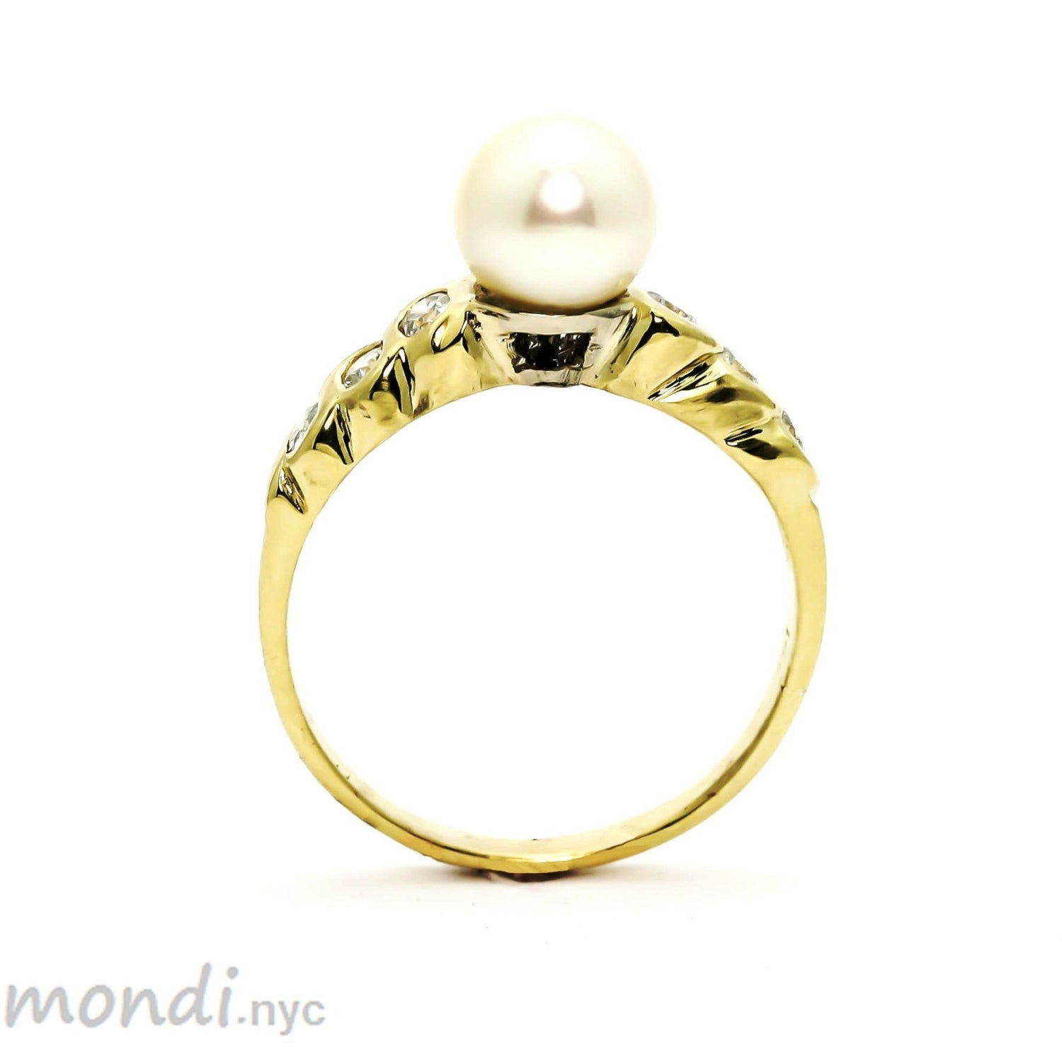 Pearl & Diamond Engagement Ring, Anniversary Ring, Cocktail Ring