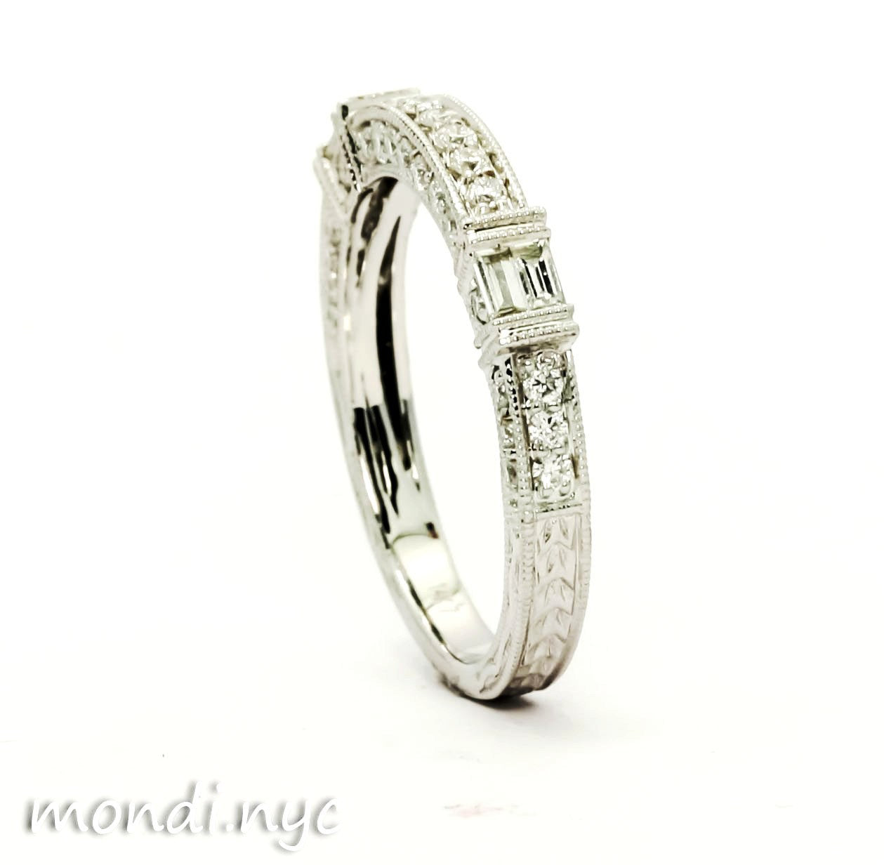 Art Deco Diamond Wedding Band, Matching Engagement Ring Available - 73109WB