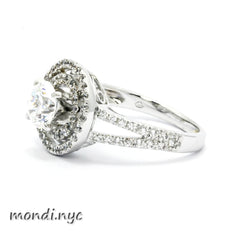 Double Halo Diamond Engagement Ring Setting for 1 Carat Center Stone, Split Shank, Semi Mount - 85033