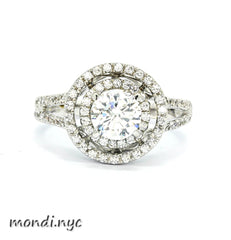 Double Floating Halo 1 Carat Forever Brilliant Moissanite Engagement Ring, .60 Carats Diamonds, Split Shank - FB85033