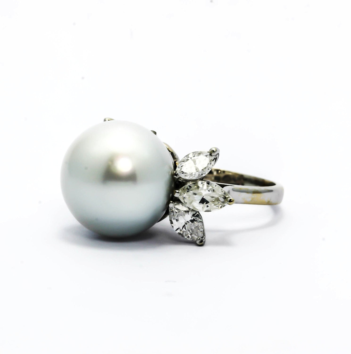 Black Tahitian Pearl & Diamond Engagement Ring, Anniversary Ring, Alternative Engagement, Cocktail Ring