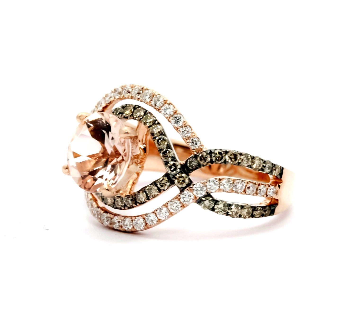 Unique Morganite Halo Infinity Rose Gold, White & Brown Diamonds Engagement Ring, Anniversary Ring With 1 Carat Morganite - MG94616