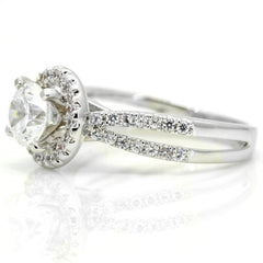 Unique Floating Halo Split Shank Engagement Ring, 1 Carat Forever Brilliant Moissanite Center Stone with .45 Carat Diamond Anniversary Ring - FB73063