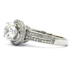 2 Carat Halo Forever Brilliant Moissanite Engagement Ring, Unique Double Shank, 14k Gold With .75 Carat Diamonds, Anniversary Ring - FB73089