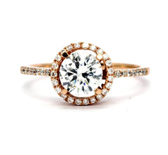 Rose Gold Diamond Engagement Ring Floating Halo, .75 Carat GIA Certified Diamond Center Stone & .20 Carat Diamond Accent Stones, Anniversary Ring - 75WD85037