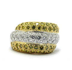 SALE! Yellow Diamond & White Diamond Bombé Cocktail Ring, Wedding Band, Pavé Setting