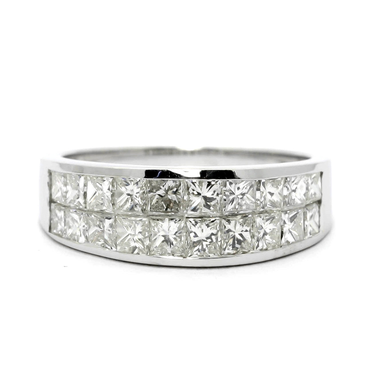 Diamond Wedding Band, Anniversary Ring, Cocktail Ring, Invisible Setting, Princess Cut Diamonds.
