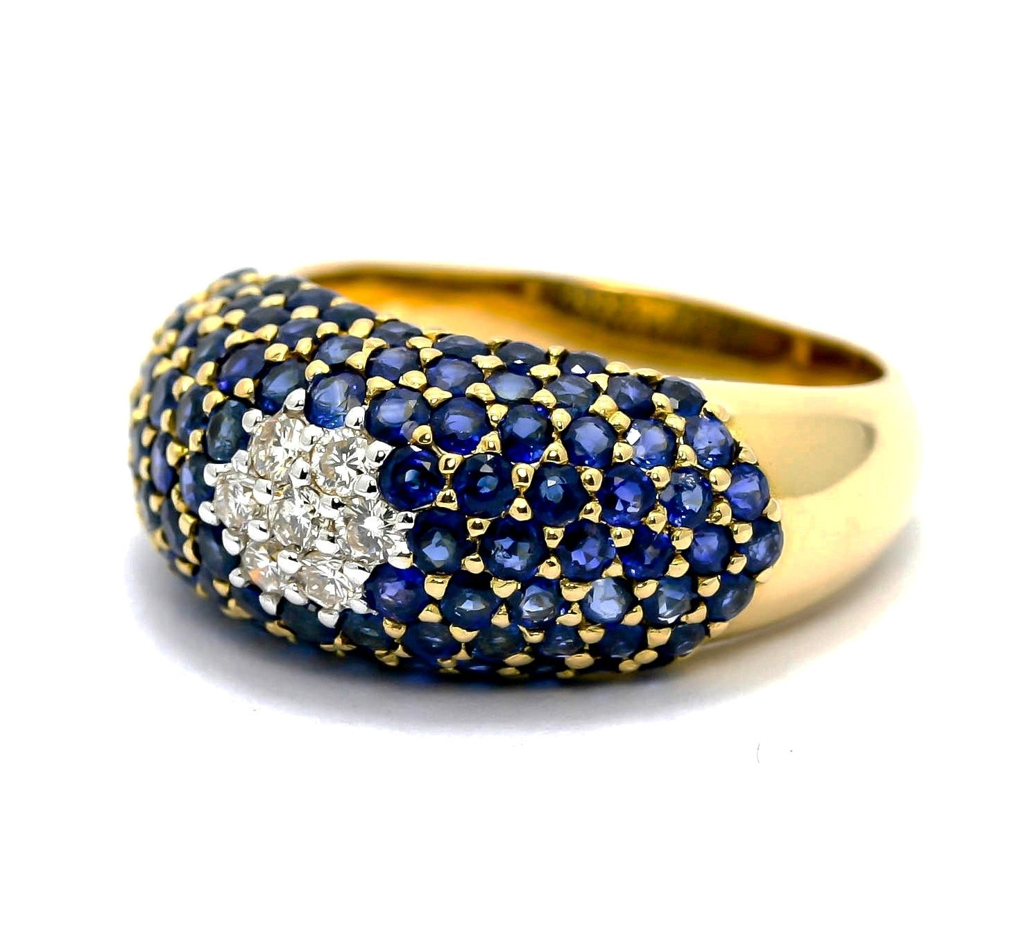 Blue Sapphire Gemstone & Diamond Engagement Ring, Anniversary Ring, Flower Ring, Pavé Dome, Bombé Ring, Cocktail Ring