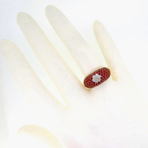 "Ruby Gemstone Engagement Ring, Anniversary Ring, Cocktail Ring With Diamond ""Flower"" Center"