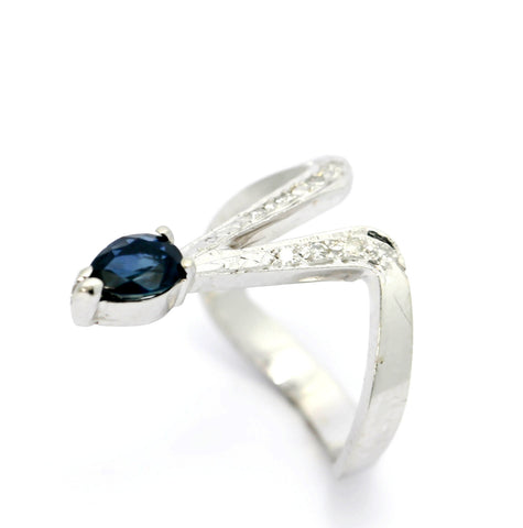 Unique! Blue Sapphire & Diamond Ring, Gothic Style, Goth Gemstone Ring, Cocktail Ring.
