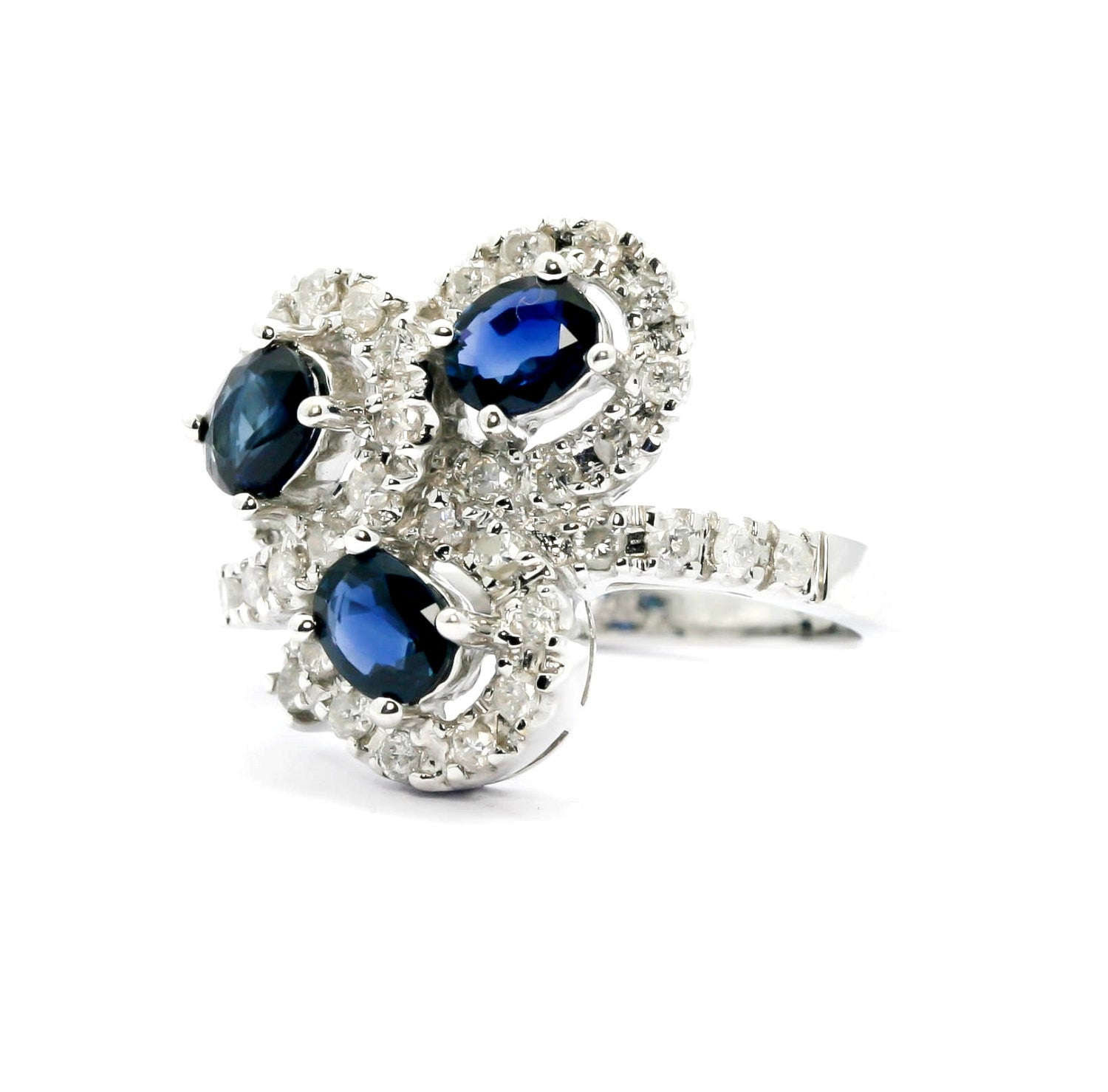 SALE! Vintage Look Blue Sapphire & Diamond Cocktail Ring, Triple Blue Sapphire Gemstone, 18K Gold
