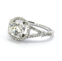 Moissanite & Diamond Halo Engagement Ring, Unique With 1.25 Carat Forever One Moissanite Split Shank With Princess Cut Diamond Accent - FB85026