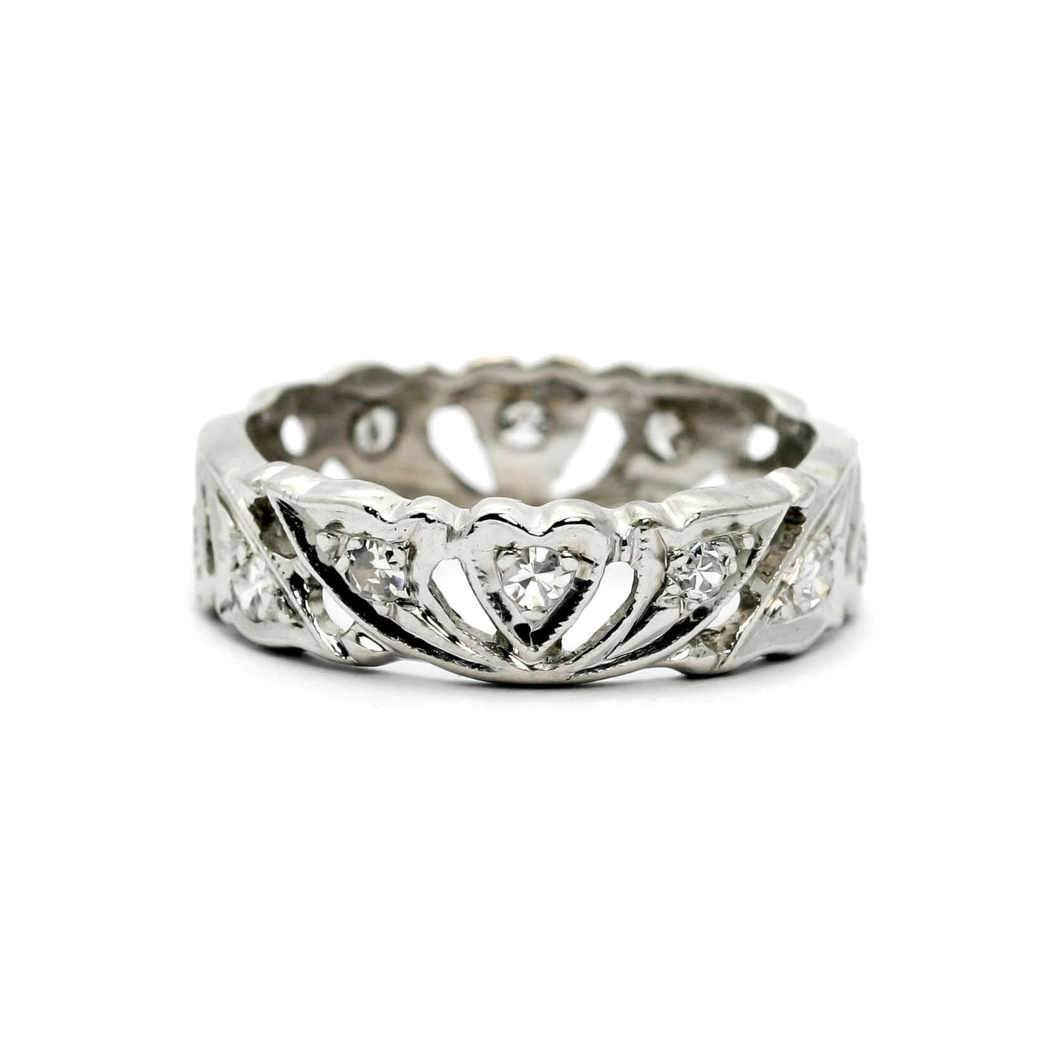 "Platinum ""Hearts"" Wedding Band With Diamonds"