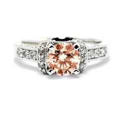 Vintage Style 1 Carat Morganite Engagement Ring with .65 Carat Of Diamonds, Unique, Art Deco, Anniversary Ring - MG73044
