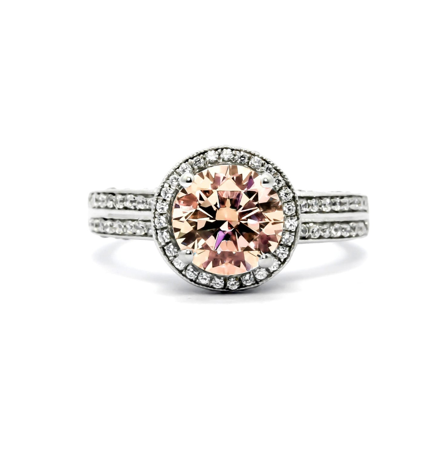 2 Carat Halo Morganite Engagement Ring, Unique Double Shank, 14k Gold With .75 Carat Diamonds, Anniversary Ring - MG73089