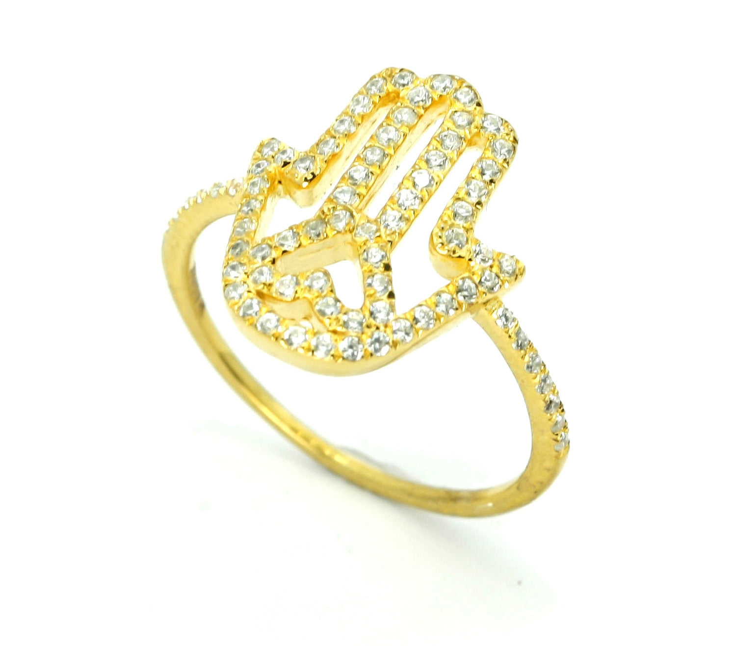 14k Rose, Yellow Or White Gold Hamsa Hand Diamond Cocktail Ring with Heart - Y11682