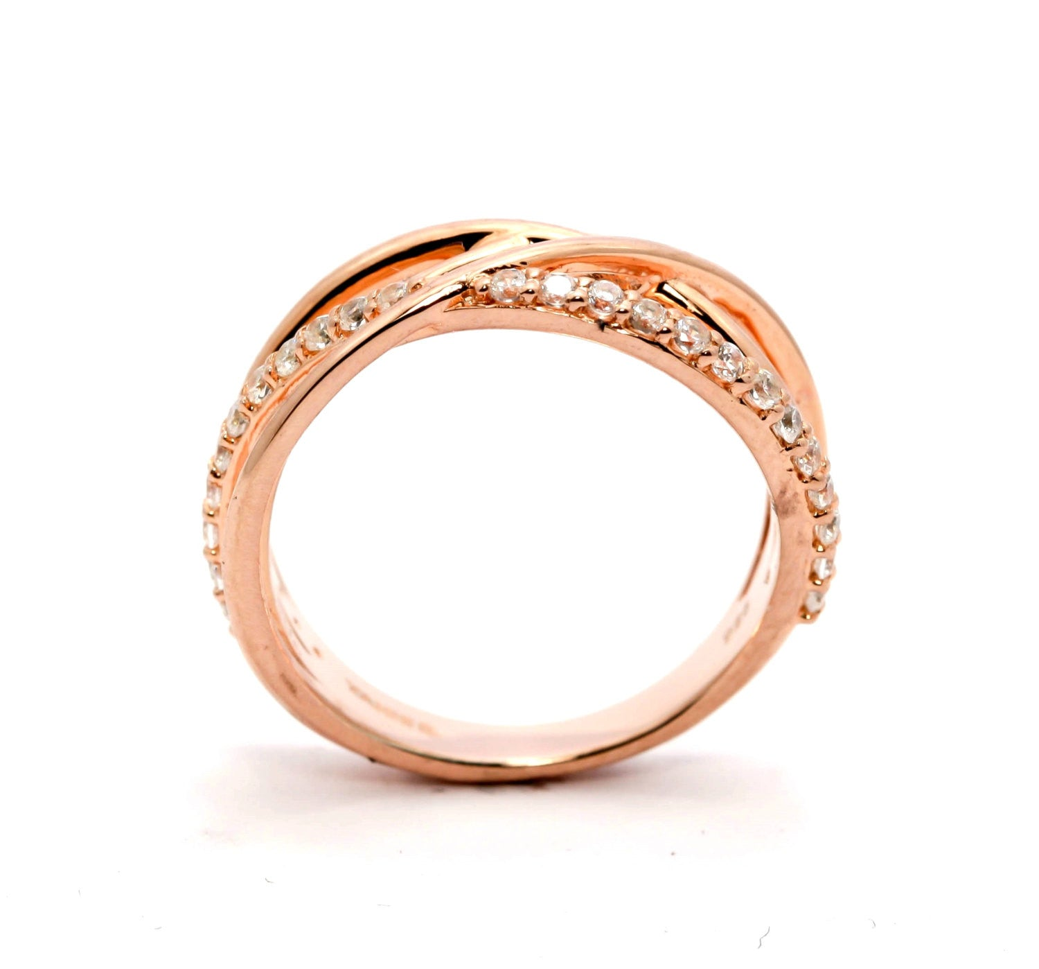 Multi Band Diamond Wedding Band, Anniversary Ring, Rose Gold, Yellow Gold, White Gold - Y11660