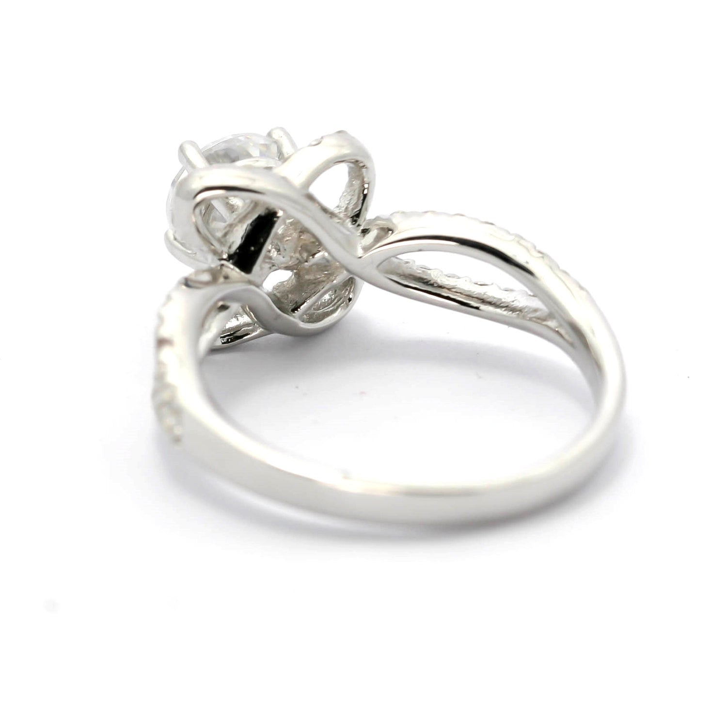 Moissanite & Diamond Flower Halo Engagement Ring, Unique With 6 mm Forever Brilliant Moissanite Split Shank With Diamond Accent Stones - FBY11558