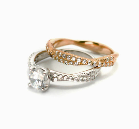 "Diamond Engagement Ring and Wedding Band Set,  Bridal Set, Wedding Set, 1 Carat  ""Forever Brilliant"" Moissanite Anniversary Ring, Rose Gold - FBY11569"
